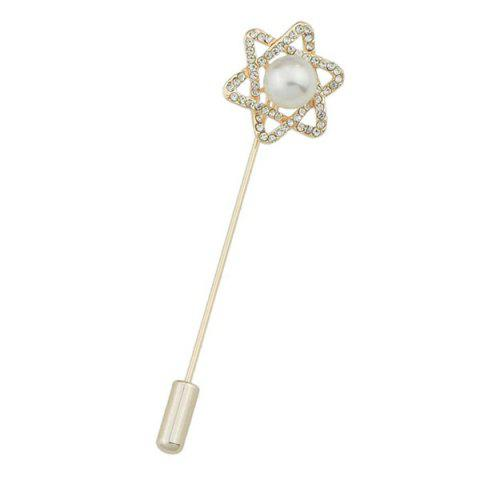 Best Embellished Faux Pearl Six Angle Star Brooch