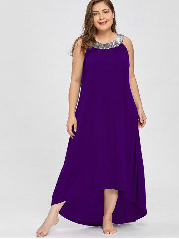 Plus Size Sequins Collar Sleeveless Maxi Dress d5618998e