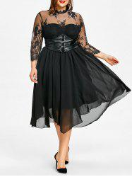 Plus Size Lace Panel Gothic Dress -