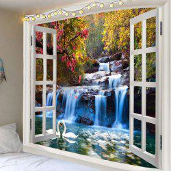 Swan Lake Mountain Waterfall Print Wall Art Tapestry -