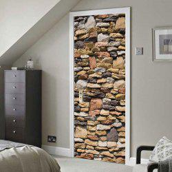 Stones Wall Printed Decorative Door Decals -