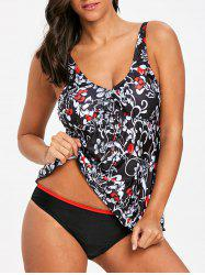 V Neck Tiny Floral Tankini Set -