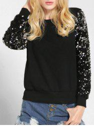 Round Neck Sequin Sleeve Sweatshirt -