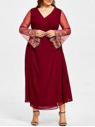 Plus Size Sheer Sleeve High Slit Surplice Dress -