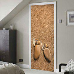 Beach Footprint Pattern Door Cover Stickers -