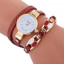 Quartz Faux Leather Wrap Bracelet Watch -