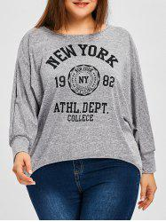Plus Size Heather Letter Print Batwing Sleeve T-shirt -