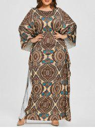 Plus Size Batwing Sleeve Ethnic Print Dress -