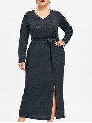 Plus Size Slit Glitter Maxi Dress -