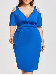 Plus Size Open Shoulder Low Cut Dress -