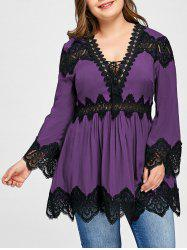 Lace Panel Plus Size Long Sleeve Peplum Blouse -