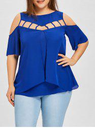 Plus Size Front Slit Cold Shoulder Blouse -