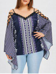Plus Size Lattice Shoulder Striped Blouse -