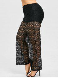 Plus Size Sheer Lace Palazzo Pants -