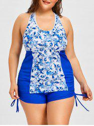 Porcelain Print Plus Size Tankini Set -