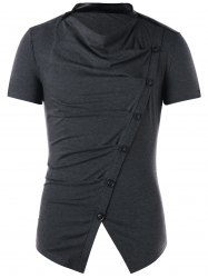 Button Design Cowl Neck T-shirt -