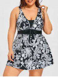 Flower Print Plus Size One Piece Swimdress -