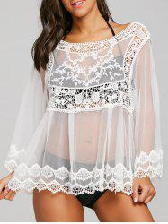 Sheer Crochet Cover Up Top -