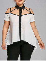 Plus Size Dip Hem Strappy Blouse -