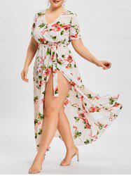 Plus Size Flower Print Maxi Surplice Dress -
