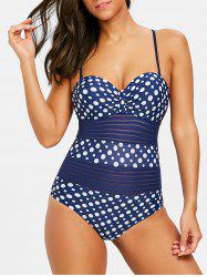 Backless Polka Dot Cami Strap Swimsuit -