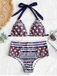 Patchwork Print High Waisted Bathing Suit -