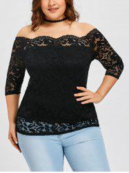 Plus Size Scalloped Off Shoulder Lace Blouse -