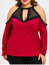 Plus Size Keyhole Front Cold Shoulder T-shirt -