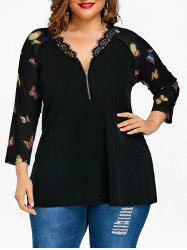 Plus Size Butterfly Pattern Zip Neck T-shirt -