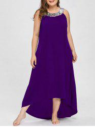 Plus Size Sequins Collar Sleeveless Maxi Dress -