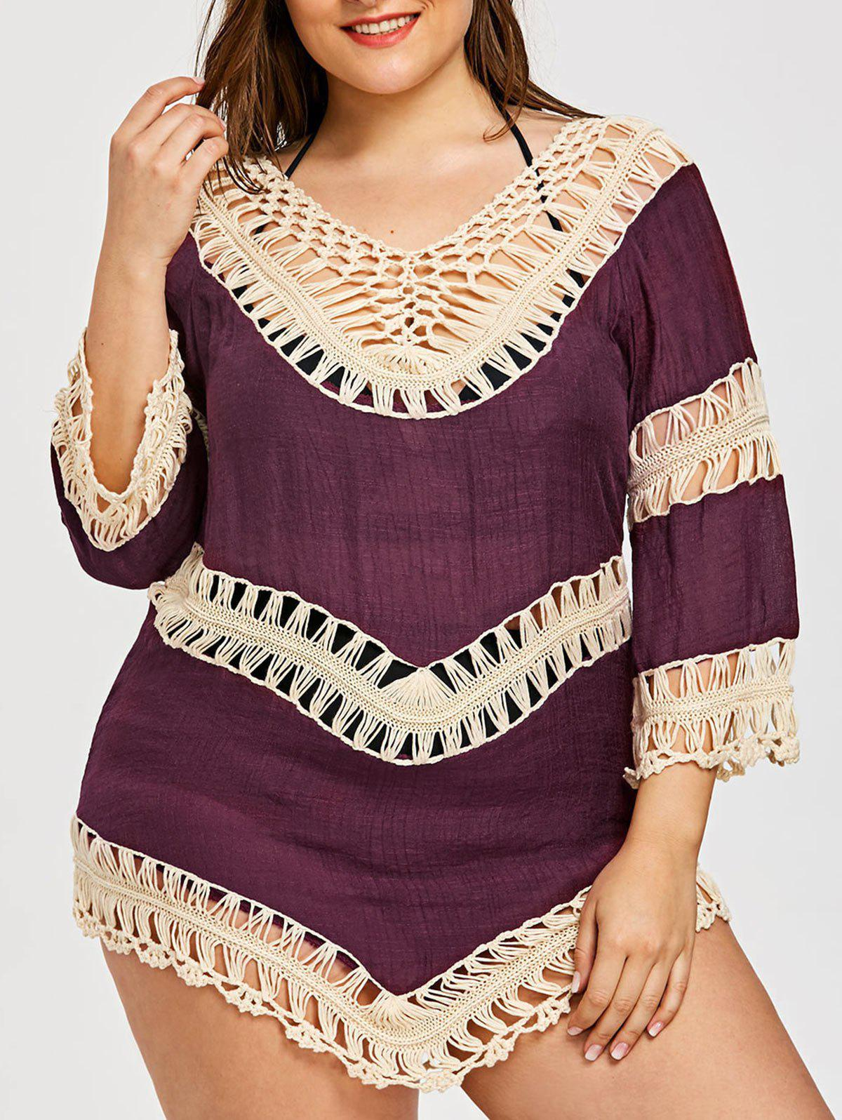 Shops Plus Size Crochet Openwork Cover-Up