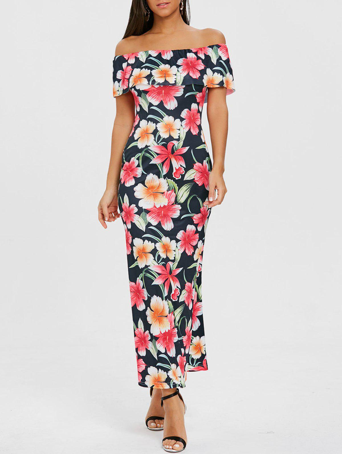 Online Ruffle Floral Off Shoulder Maxi Dress