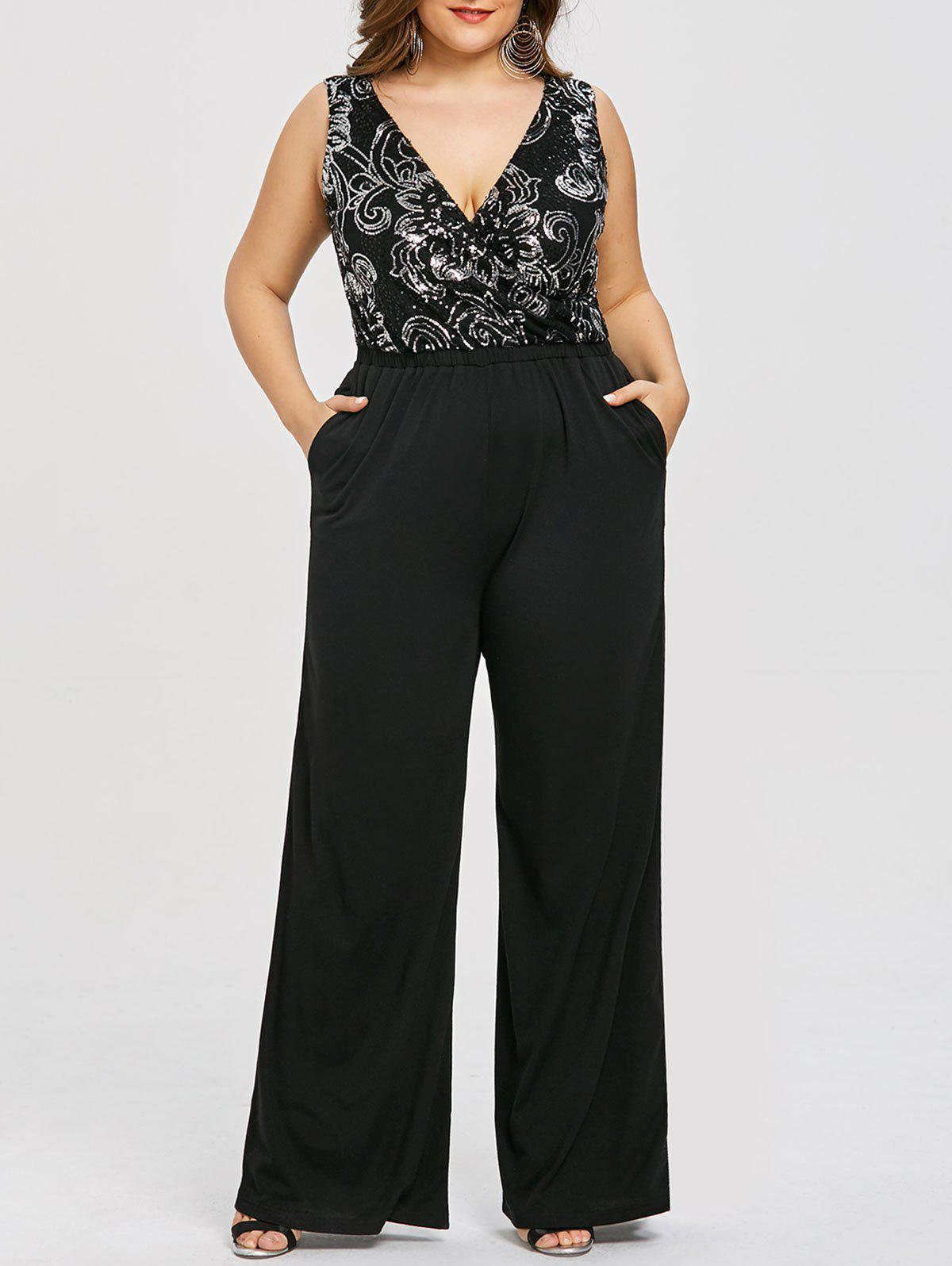 Outfits Plus Size Glittery Sleeveless Plunging Palazzo Jumpsuit