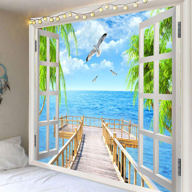 Shop Seaside Wooden Bridge Seegulls Print Wall Tapestry