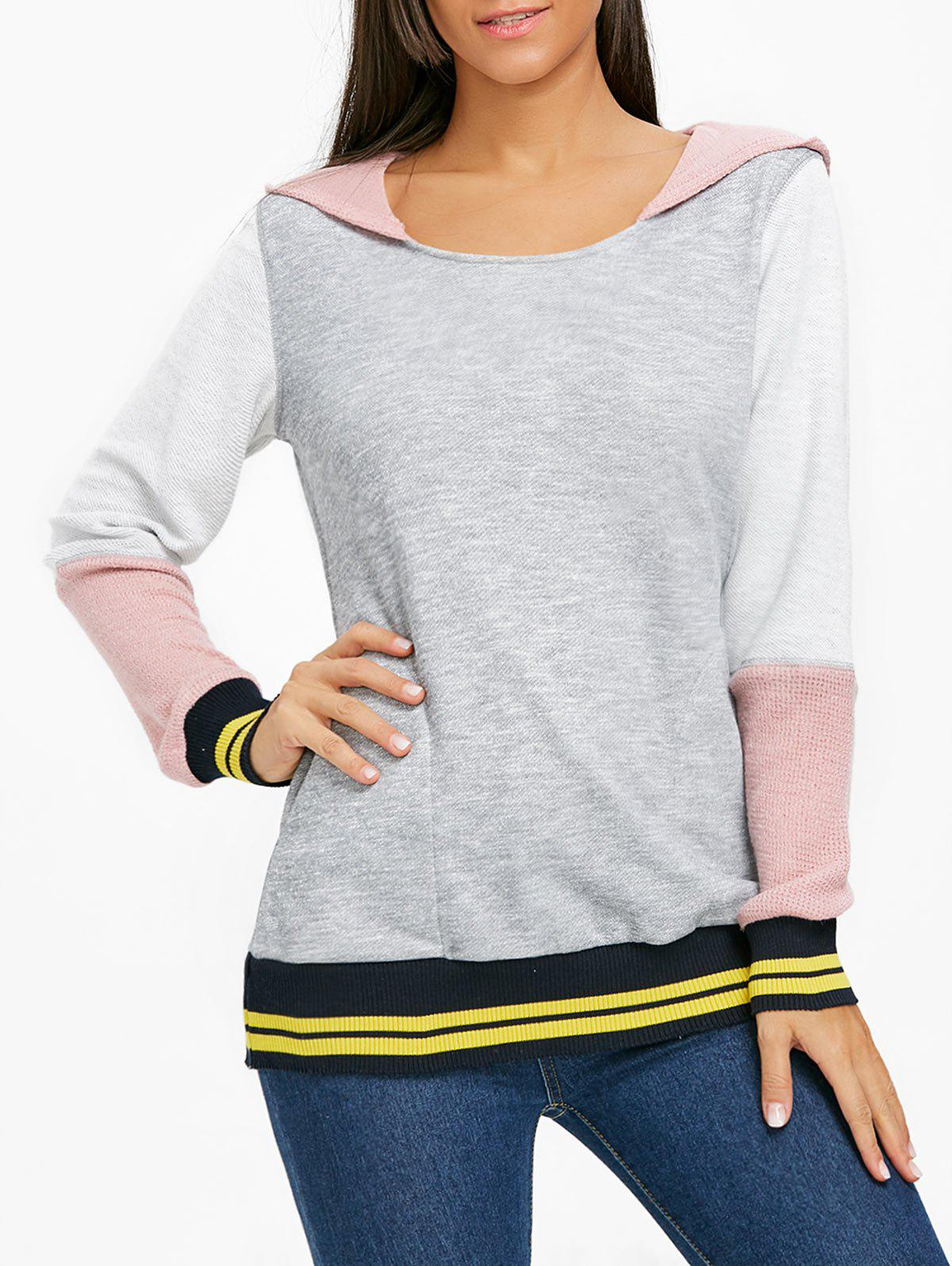 Best Stripe Trimmed Color Block Hoodie