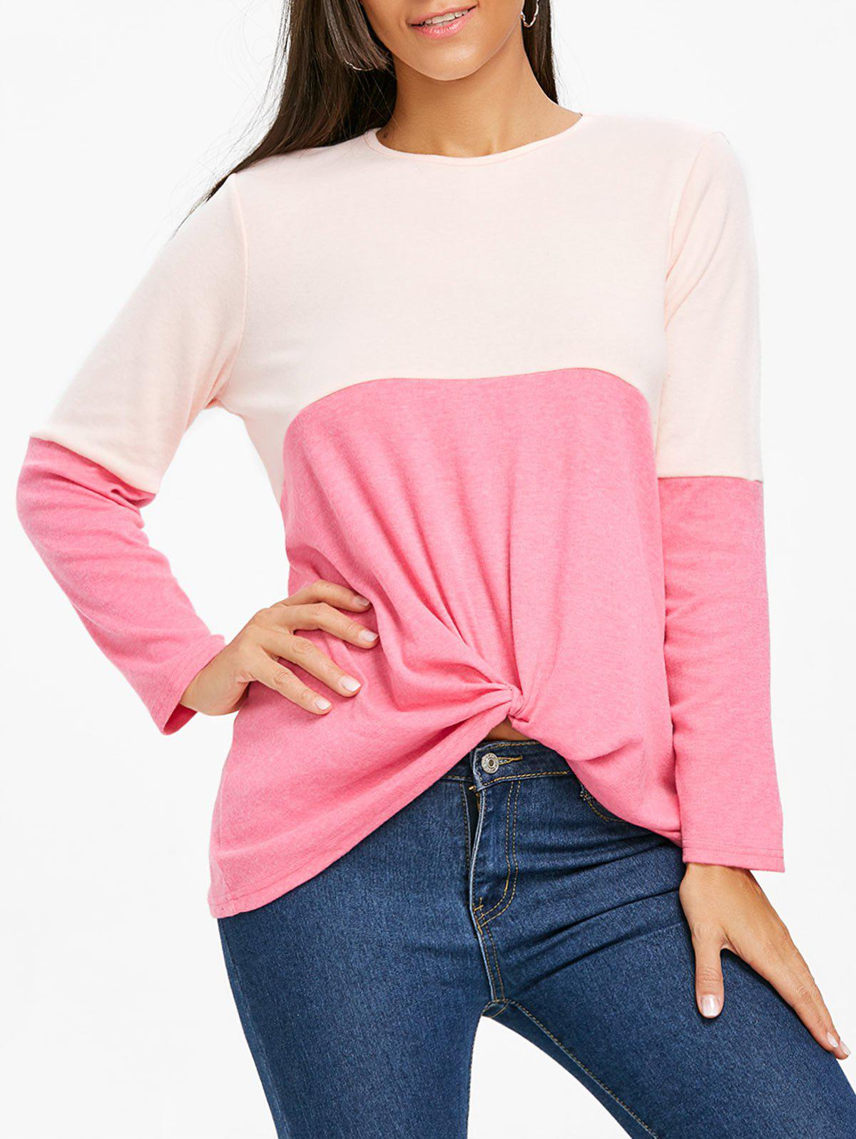 Buy Color Block Twist Front Long Sleeve Top