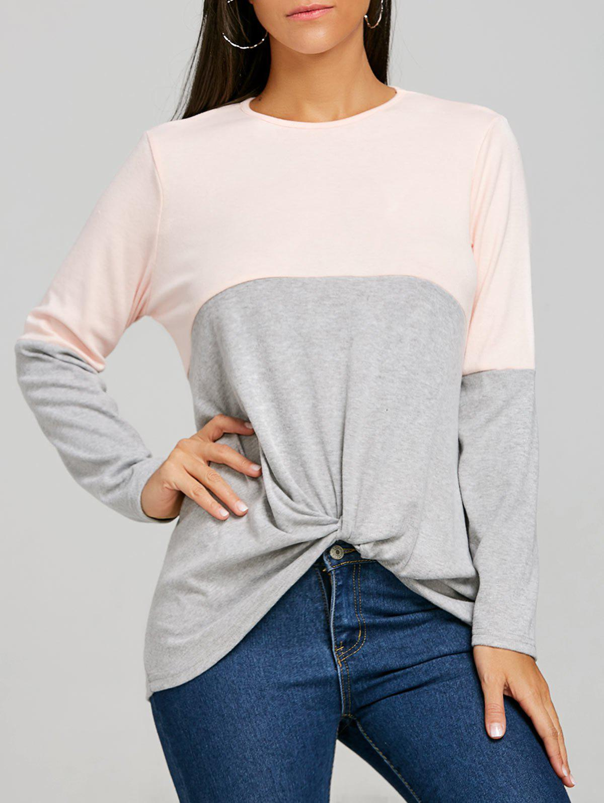 Outfit Color Block Twist Front Long Sleeve Top