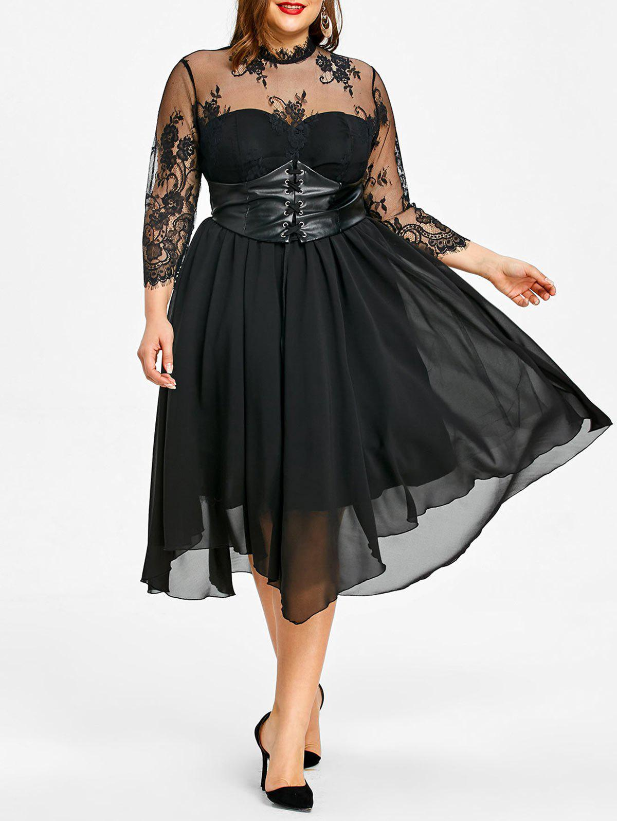 Unique Plus Size Lace Panel Gothic Dress