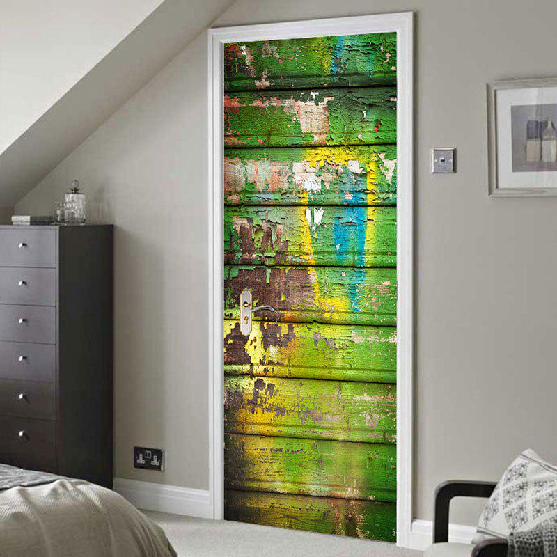 Hot Paint Peeling Plank Print Door Stickers