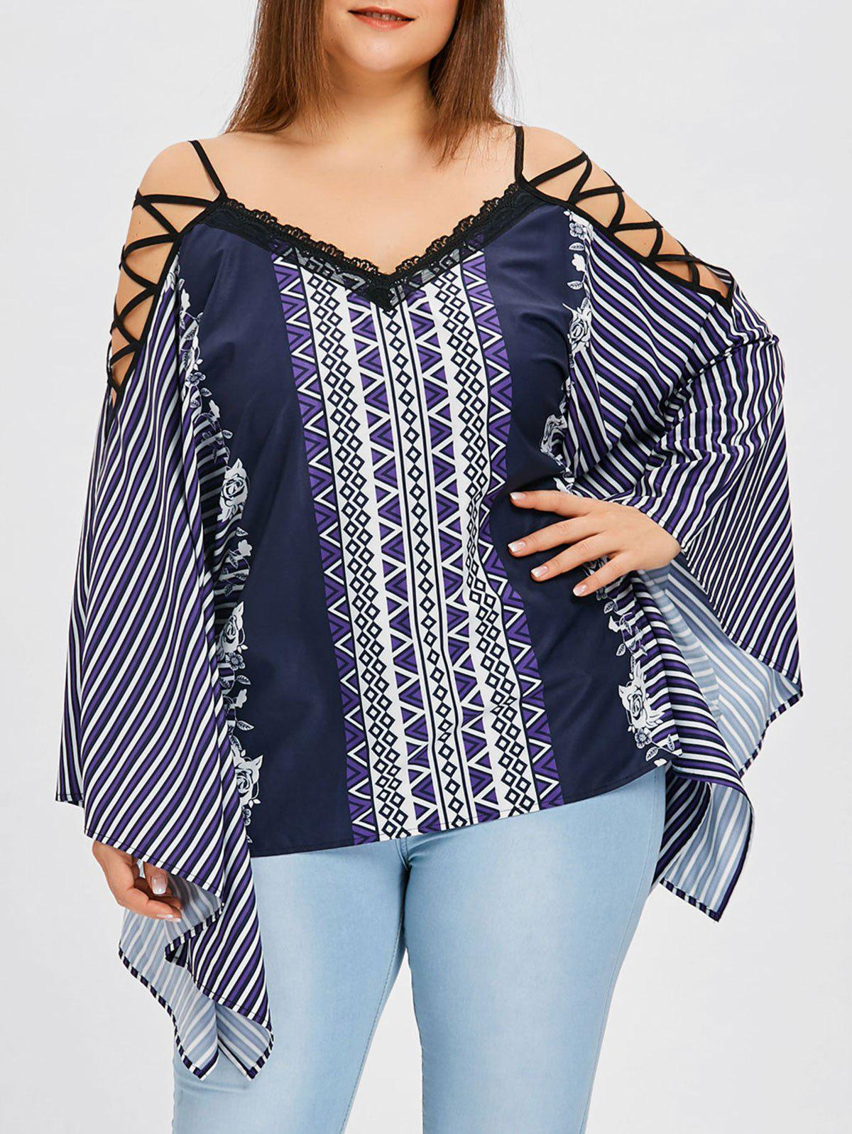 Shops Plus Size Lattice Shoulder Striped Blouse