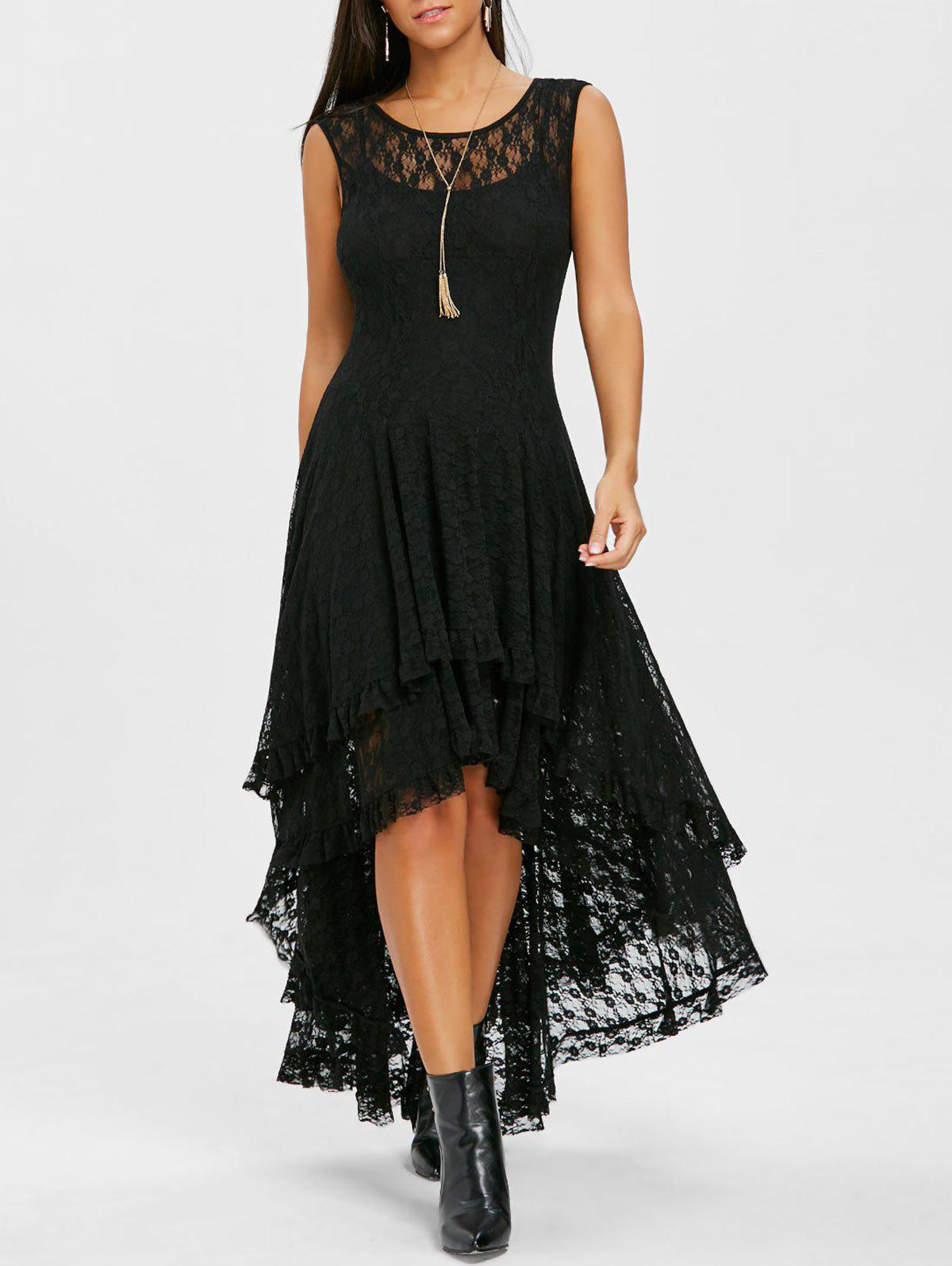 Fashion Tiered Lace High Low Dress