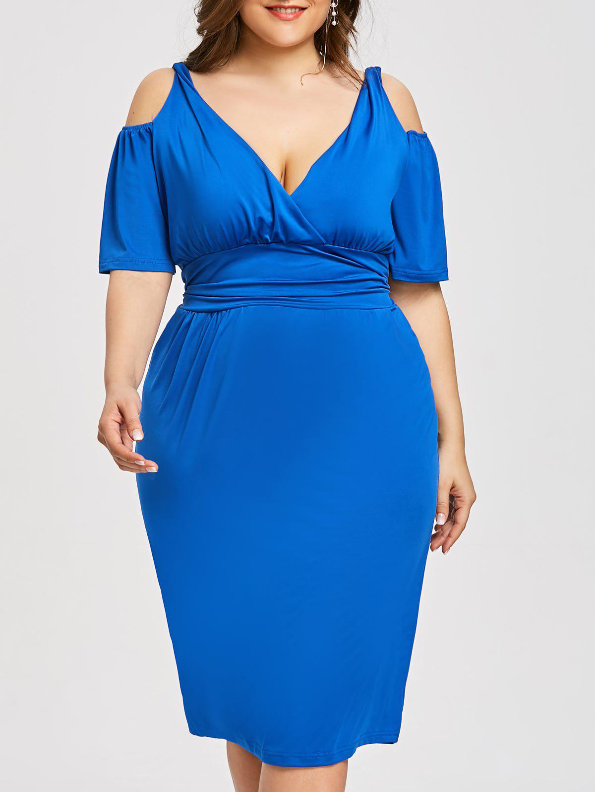 Latest Plus Size Open Shoulder Low Cut Dress