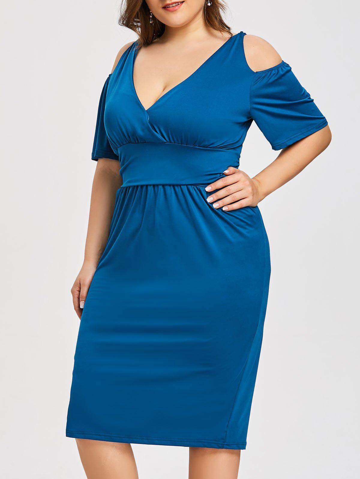 Outfit Plus Size Open Shoulder Low Cut Dress
