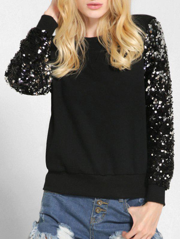 Online Round Neck Sequin Sleeve Sweatshirt