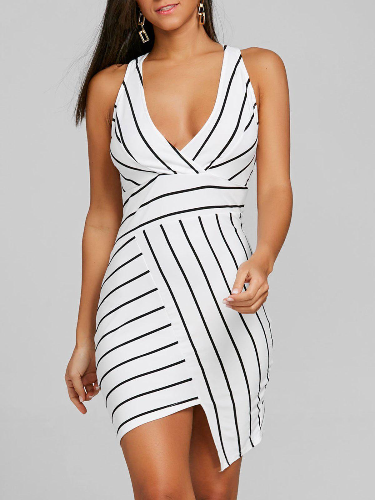 Trendy Striped V-neck Asymmetric Dress