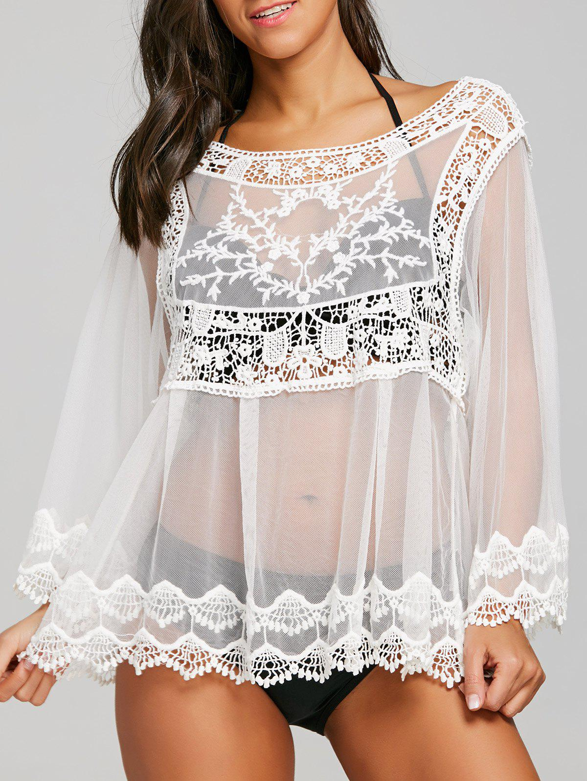 Latest Sheer Crochet Cover Up Top