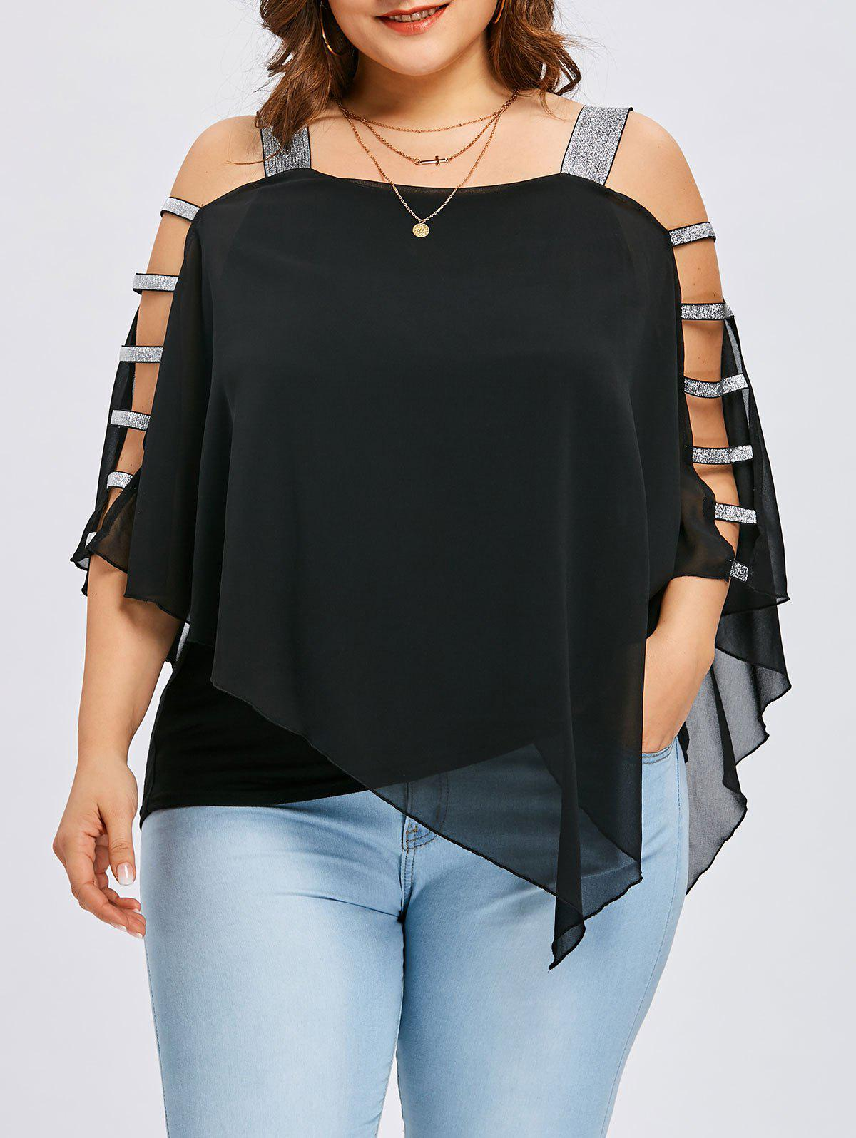 2019 Plus Size Ladder Cut Flowy Blouse Rosegal Com