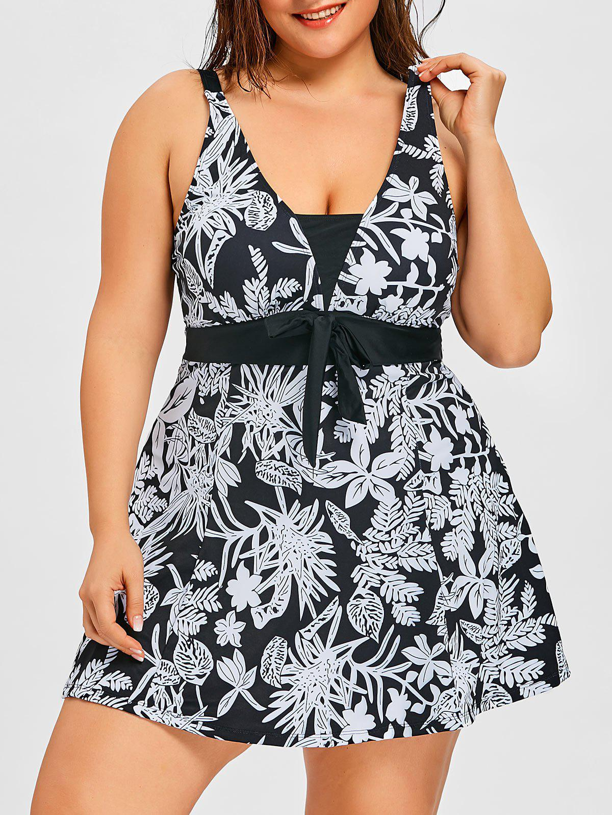 New Flower Print Plus Size One Piece Swimdress