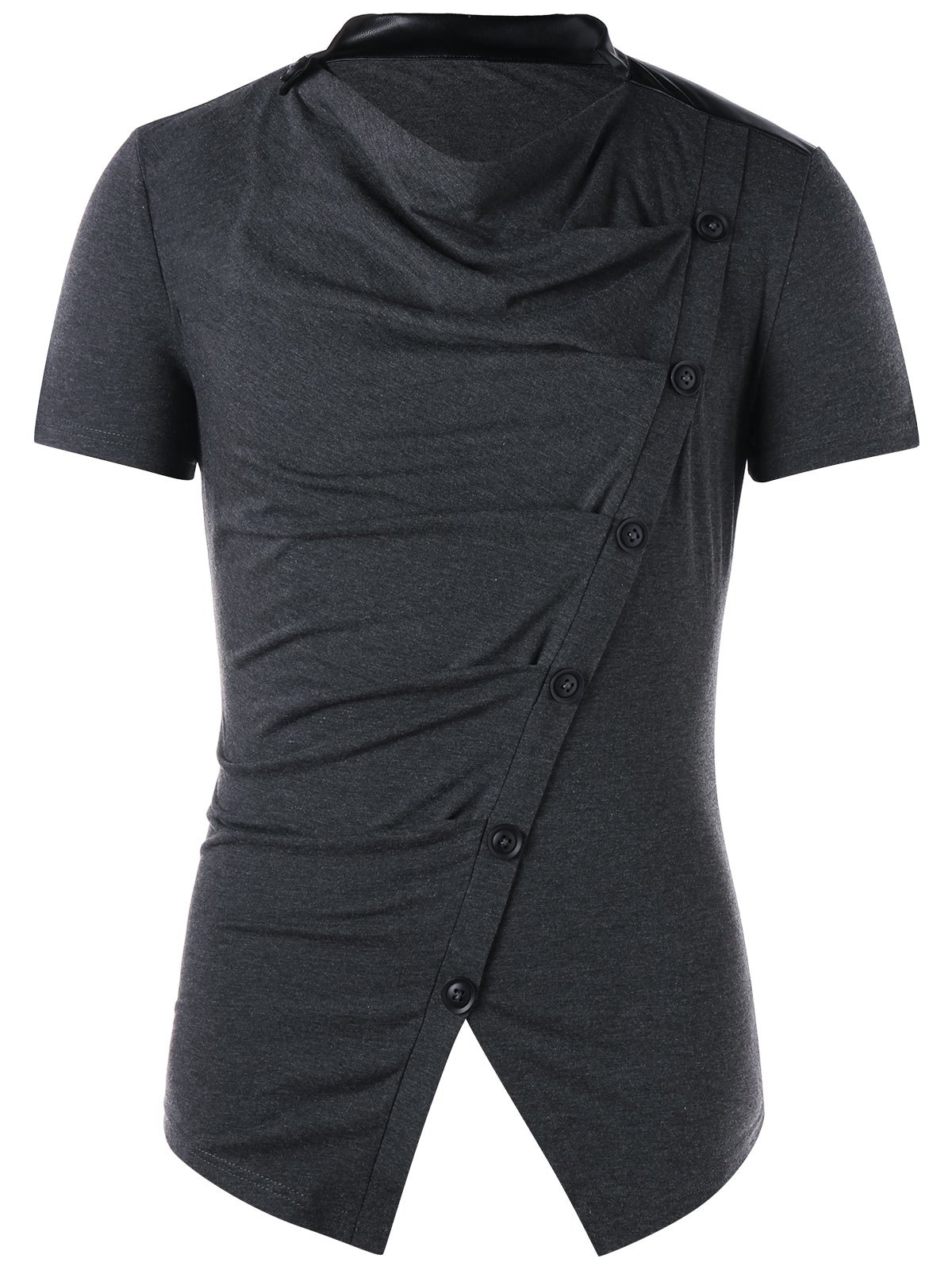Online Button Design Cowl Neck T-shirt