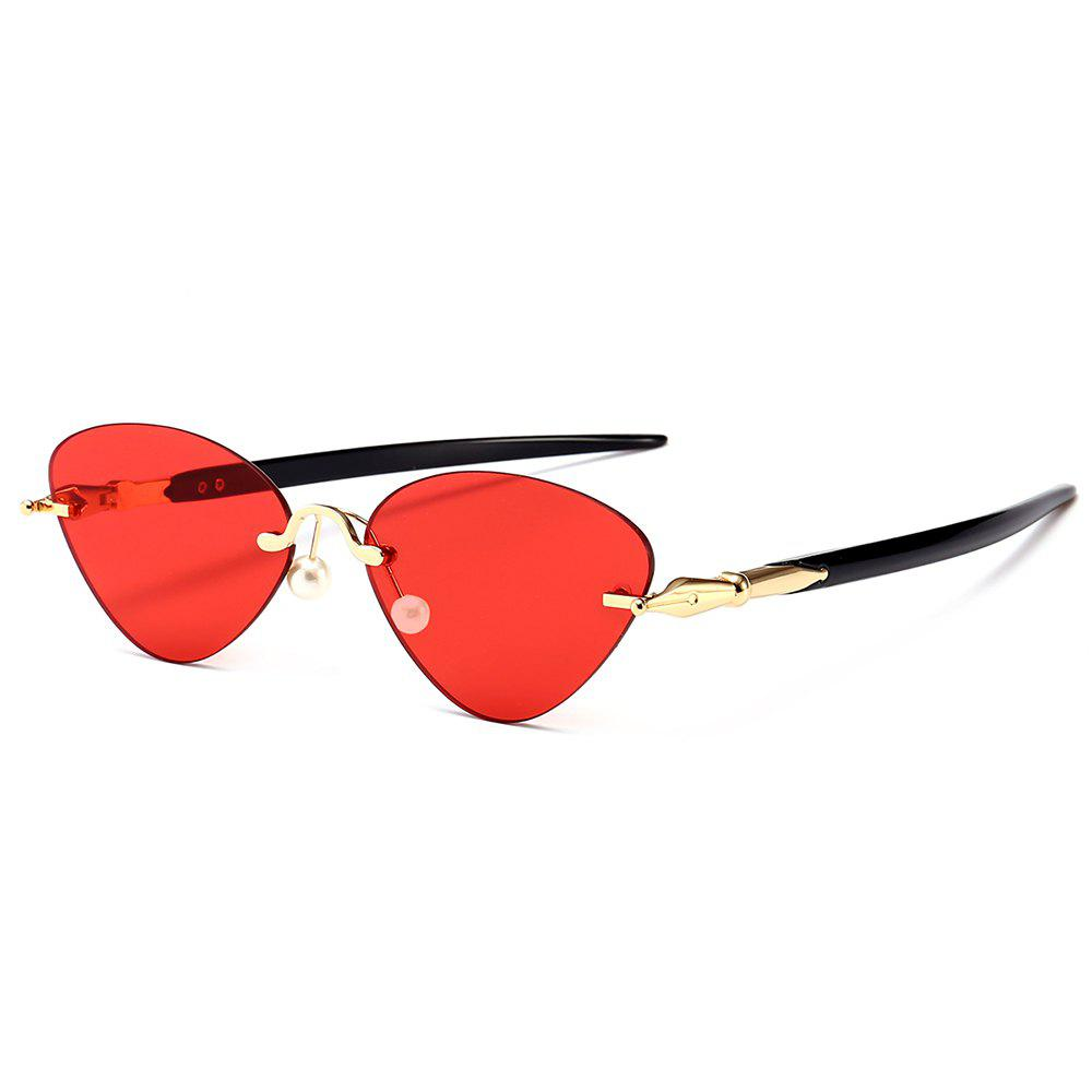 05468d87d77774 2019 Rimless Straight Legs Cat Eye Sunglasses